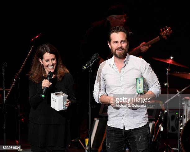 Comedian Wendy Liebman and actor Rider Strong speak during their appearance at Deep In The Heart A Concert For Hurricane Relief at El Portal Theatre...