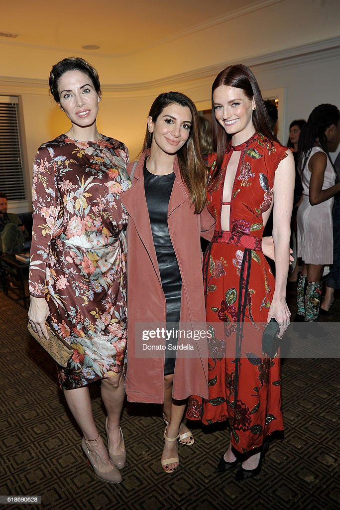 Comedian Whitney Cummings, actress Nasim Pedrad, and actress Lydia Hearst, in Burberry, attend the Vanity Fair and Burberry event celebrating Felicity Jones and the British Academy Britannia Awards at Chateau Marmont on October 27, 2016 in Los Angeles, California.