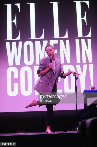 Comedian Whitney Cummings performs on stage as ELLE hosts Women In Comedy event with July Cover Star Kate McKinnon at Public Arts at Public on June...