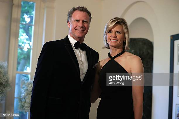 Comedian Will Ferrell and his wife Viveca Paulin arrive at a Nordic State Dinner May 13 2016 at the White House in Washington DC President Barack...