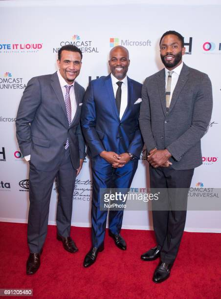 Comedian writer and actor Chris Spencer Comedian writer actor and Master of Ceremonies and actor Tobias Truvillion on the red carpet for the Vote It...