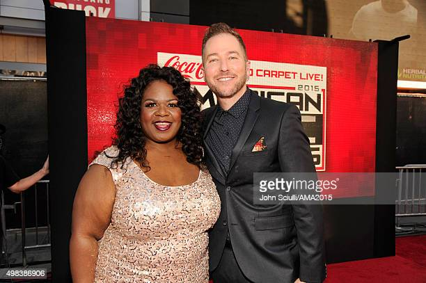 Comedian Yamaneika Saunders and radio personality Ted Stryker attend the 2015 American Music Awards at Microsoft Theater on November 22 2015 in Los...