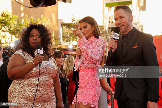 Comedian Yamaneika Saunders recording artist Zendaya and radio personality Ted Stryker attend the 2015 American Music Awards at Microsoft Theater on...