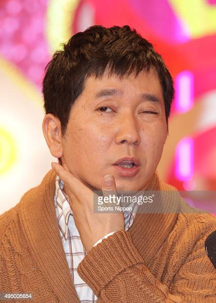 Comedian Yuji Tanaka of Bakusho Mondai speaks during the press conference after recovering from Infectious mononucleosis on November 22 2012 in Tokyo...