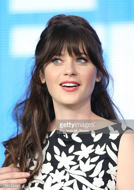 """Comedian Zooey Deschanel of """"New Girl"""" speaks onstage during the FOX portion of the 2013 Winter TCA Tour at Langham Hotel on January 8, 2013 in..."""