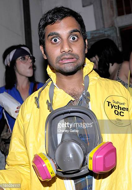Comedian/actor Aziz Ansari attends Bacardi and Maroon 5's Annual Halloween Bash held at Hollywood Forever Cemetary on October 31 2011 in Hollywood...