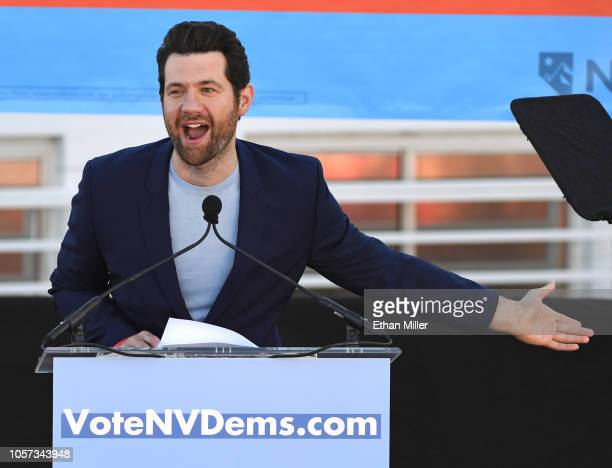 Comedian/actor Billy Eichner speaks during a rally at the Culinary Workers Union Hall Local 226 featuring former US Vice President Joe Biden as they...