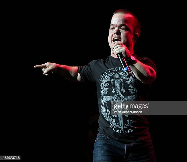 Comedian/actor Brad Williams performs onstage at Kevin Bean's 2013 'pril Foolishness' presented by KROQ at Gibson Amphitheatre on April 6 2013 in...