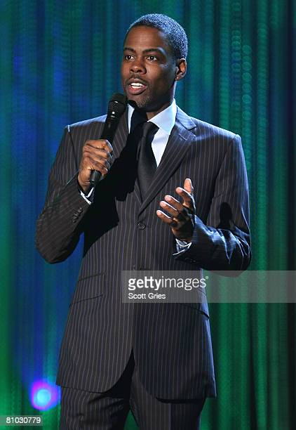 Comedian/actor Chris Rock onstage during the MTV Networks Upfront at the Nokia Theater on May 8 2008 in New York City