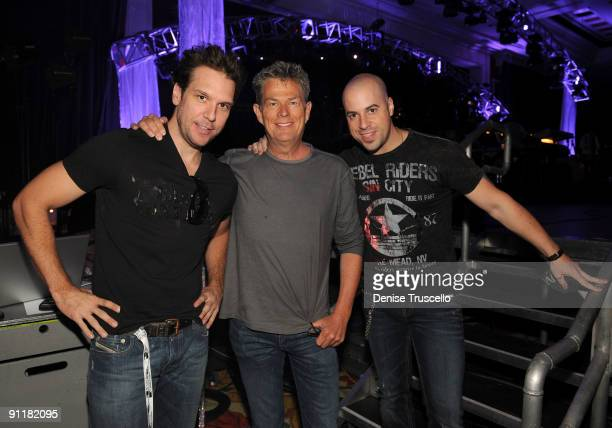 Comedian/actor Dane Cook producer/composer David Foster and singer/guitarist Chris Daughtry at the 14th annual Andre Agassi Foundation for...