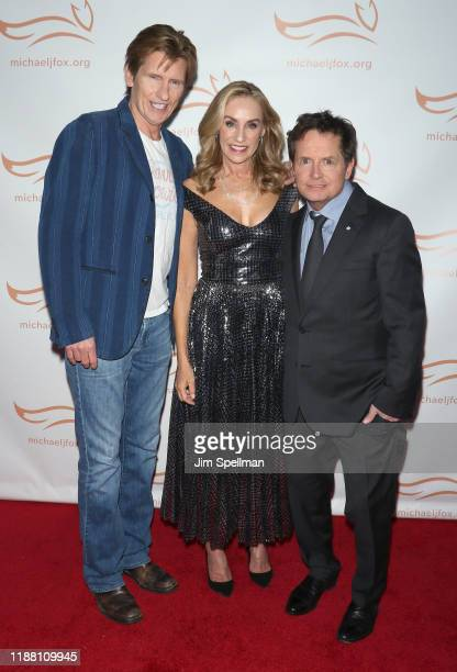 Comedian/actor Denis Leary actors Tracy Pollan and Michael J Fox attend the 2019 A Funny Thing Happened On The Way To Cure Parkinson's at the Hilton...