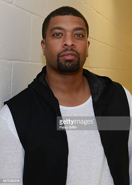 Comedian/actor DeRay Davis backstage at the HCE Live presents Shaquille O'Neal All Star Comedy Jam at Cobb Energy Center on October 10 2014 in...