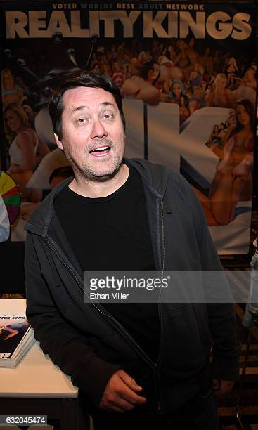 Comedian/actor Doug Benson poses at the Reality Kings booth at the 2017 AVN Adult Entertainment Expo at the Hard Rock Hotel Casino on January 18 2017...