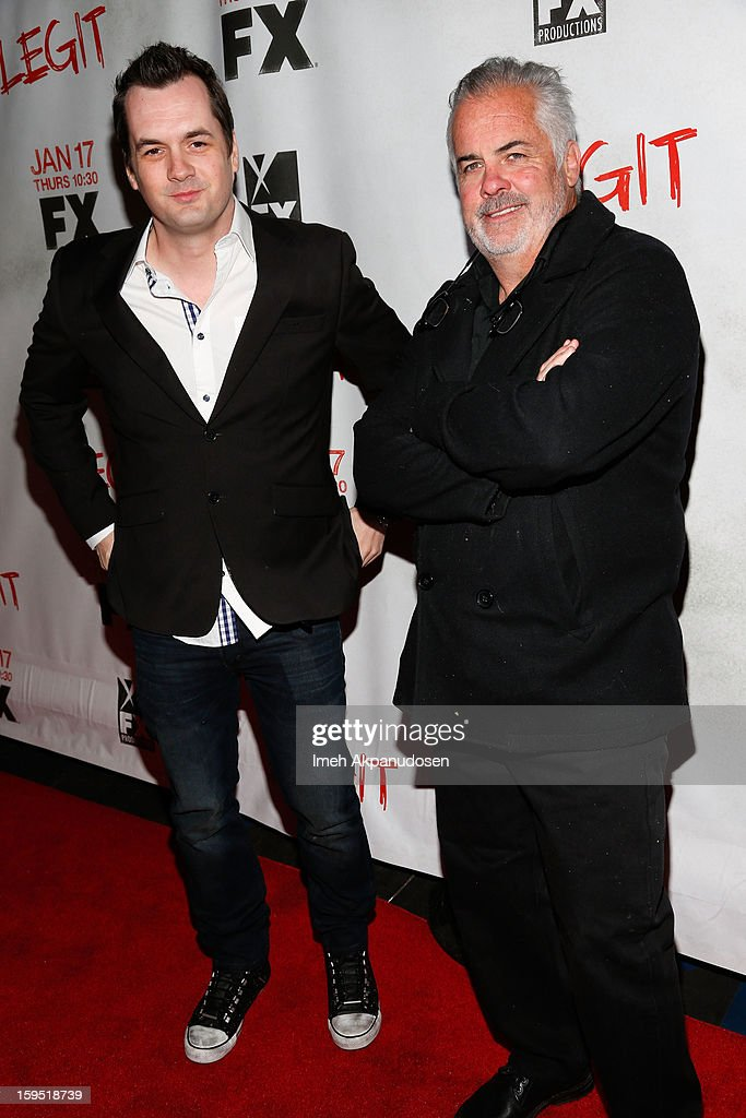 Comedian/actor Jim Jefferies (L) and Executive Producer Peter O'Fallon attend the screening of FX's new comedy series 'Legit' on January 14, 2013 in Los Angeles, California.