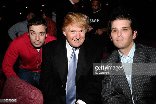Comedian/actor Jimmy Fallon business tycoon Donald Trump and Donald Trump Jr at the Neil Young concert at the United Palace Theatre in Washington...