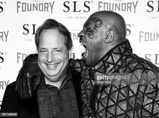 Comedian/actor Jon Lovitz and former boxer Mike Tyson joke around as they arrive at the kickoff of Lovitz's 20show residency 'Reunited' with Dana...