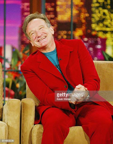 "Comedian/actor Robin Williams appears on ""The Tonight Show with Jay Leno"" at the NBC Studios on October 14, 2004 in Burbank, California."