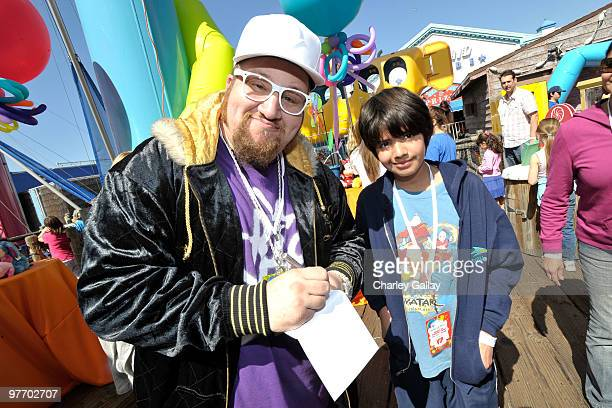 Comedian/actor Stephen Glickman and guest attend the MakeAWish Foundation's Day of Fun hosted by Kevin Steffiana James held at Santa Monica Pier on...