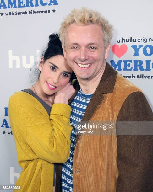 Comedian/actress Sarah Silverman and actor Michael Sheen attend photo op for Hulu's 'I Love You America' at Cheateau Marmont on October 11 2017 in...