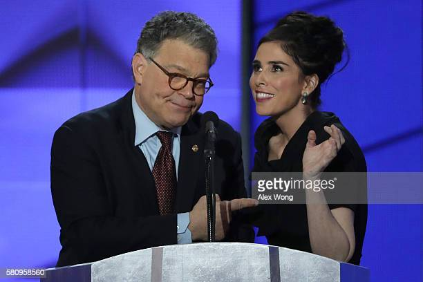 Comedian/actress Sarah Silverman speaks as Sen Al Franken looks on during the first day of the Democratic National Convention at the Wells Fargo...