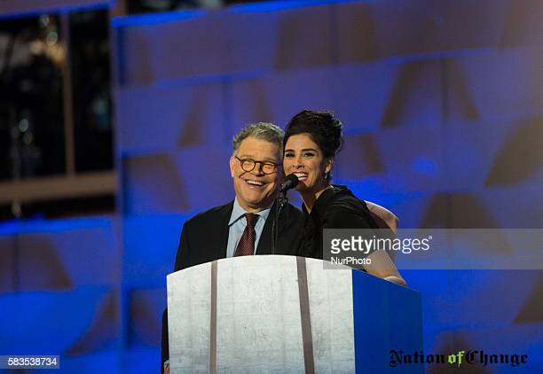Comedian/actress Sarah Silverman speaks during the first day of the Democratic National Convention at the Wells Fargo Center July 25 2016 in...