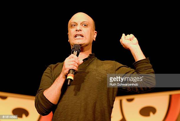 Comedian/Broadcaster Akmal Saleh performs on stage during the 'Stand Up In '08' Celebrity Comedy Night at The Factory Enmore on July 3 2008 in Sydney...