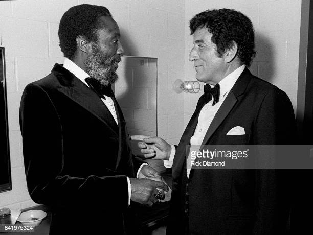 Comedian/Civil Rights Activist Dick Gregory and Singer/Songwriter Tony Bennett backstage during MLK Gala at The Atlanta Civic Center in Atlanta...