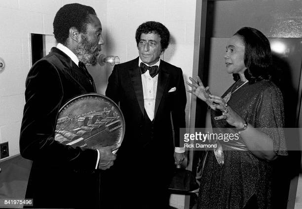 Comedian/Civil Rights Activist Dick Gregory Singer/Songwriter Tony Bennett and Civil Rights Leader Coretta Scott Kink backstage during MLK Gala at...