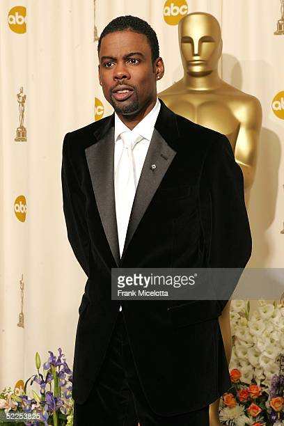 Comedian/host Chris Rock poses backstage during the 77th Annual Academy Awards on February 27 2005 at the Kodak Theater in Hollywood California