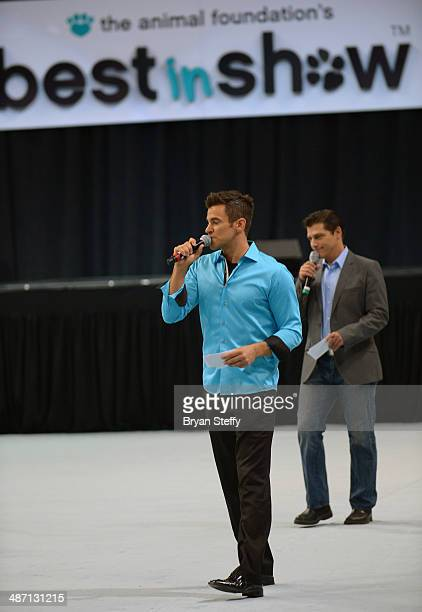 Comedian/juggler Jeff Civillico and singer Deven May speak to the audience during The Animal Foundation's 11th annual 'Best in Show' a benefit for...