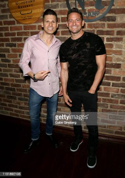 Comedian/magician Mike Hammer and singer Jeff Timmons of 98 Degrees attend the Mike Hammer Celebrity Poker Tournament benefiting US Vets at Binion's...