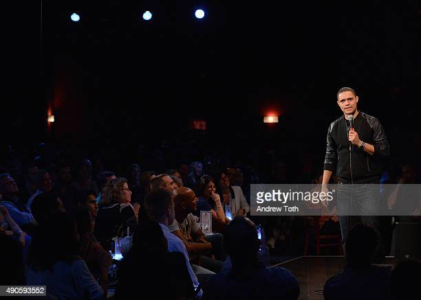 Comediann Trevor Noah performs onstage at Stand Up LIVE during Advertising Week 2015 AWXII at the Gotham Comedy Club on September 29 2015 in New York...