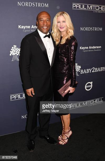 Comedian/producer Byron Allen and wife/producer Jennifer Lucas attend the 2017 Baby2Baby Gala at 3Labs on November 11 2017 in Culver City California