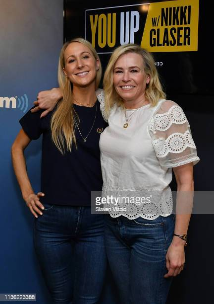 Comedian/Radio and TV host Nikki Glaser and comedian/TV host Chelsea Handler pose for photos at You Up w/ Nikki Glaser at SiriusXM Studios on April...