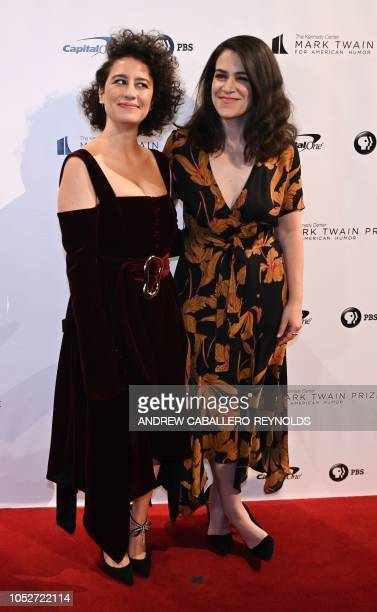 Comedians Abbi Jacobson and Ilana Glazer pose on the red carpet for the 21st Annual Mark Twain Prize for American Humor at the Kennedy Center in...