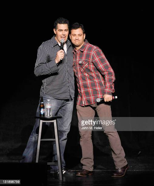 """Comedians Adam Carolla and Jimmy Kimmel celebrate the release of Adam Carolla's new paperback book """"In Fifty Years We'll All Be Chicks"""" on May 21,..."""