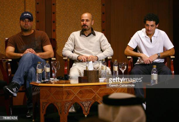 Comedians Ahmed Ahmed Maz Jobrani and Aron Kader of the Axis of Evil attend the Showtime Comedy Workshop during day three of the 4th Dubai...
