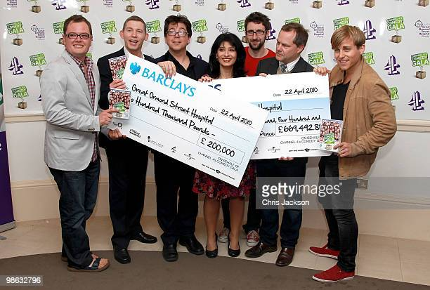 Comedians Alan Carr, Lee Evans, Michael Mcintyre, Shappi Khorsandi, Mark Watson, Jack Dee and Kevin Bishop pose at a photocall for the Great Ormond...
