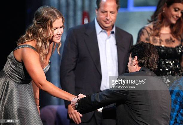 Comedians Amy Schumer Jon Lovitz roastee Charlie Sheen and actress Kate Walsh onstage at Comedy Central's Roast of Charlie Sheen held at Sony Studios...