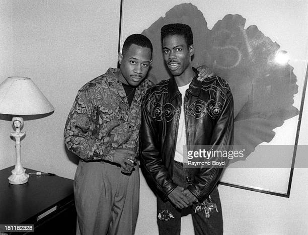 Comedians and actors Martin Lawrence and Chris Rock poses for photos backstage at the Park West Theater in Chicago Illinois in MARCH 1990