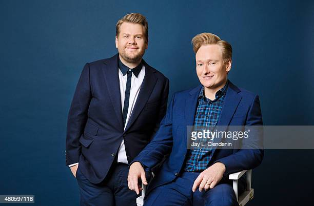 Comedians, and TV hosts Conan O'Brien and James Corden are photographed for Los Angeles Times on June 9, 2015 in West Hollywood, California....