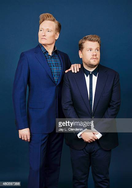 Comedians and TV hosts Conan O'Brien and James Corden are photographed for Los Angeles Times on June 9 2015 in West Hollywood California Published...