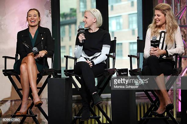 Comedians and YouTube personalities Mamrie Hart Hannah Hart and Grace Helbig speak at The Build Series Presents Grace Helbig Mamrie Hart And Hannah...