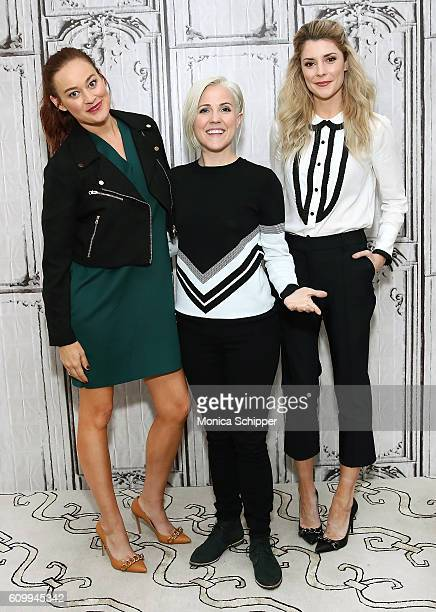 Comedians and YouTube personalities Mamrie Hart Hannah Hart and Grace Helbig attend The Build Series Presents Grace Helbig Mamrie Hart And Hannah...
