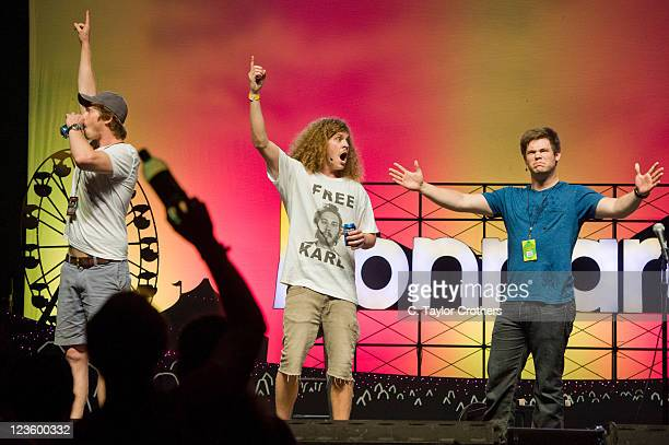Comedians Anders Holm Blake Anderson and Adam DeVine of Workaholics perform on stage during Bonnaroo 2011 at The Comedy Theatre on June 9 2011 in...