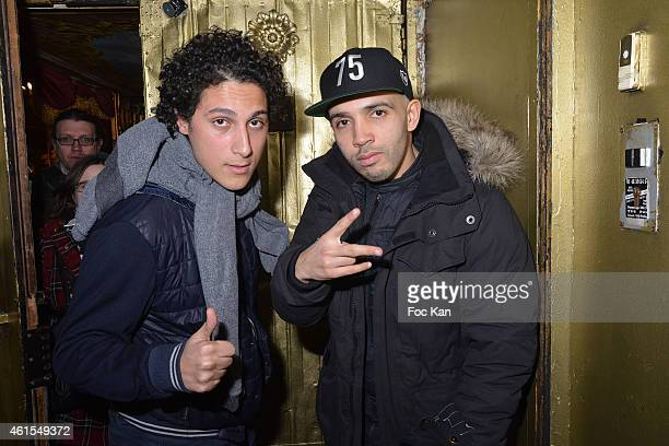 Comedians Bambi and Younes attend the 'Chinchman Comedy Show' Party at Le Reservoir on January 14, 2014 in Paris, France.