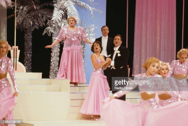 Comedians Bella Emberg Les Dennis and Russ Abbot in a sketch from the Christmas special of BBC Television series 'The Russ Abbot Show' August 23rd...