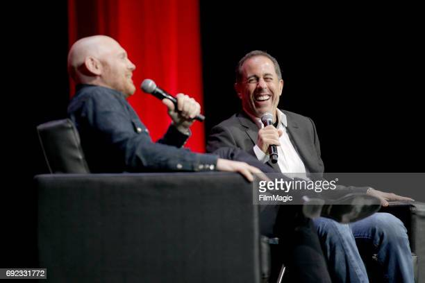 Comedians Bill Burr and Jerry Seinfeld speak onstage at The Bill Graham Stage during Colossal Clusterfest at Civic Center Plaza and The Bill Graham...