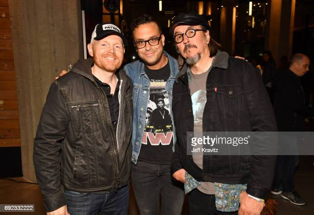 Comedians Bill Burr and Joe DeRosa and musician Les Claypool at the Colossal Clusterfest Party during Colossal Clusterfest at Civic Center Plaza and...