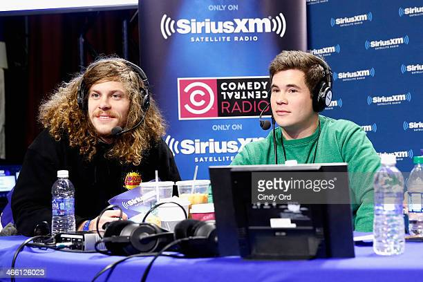 Comedians Blake Anderson and Adam DeVine of 'Workaholics' attend SiriusXM at Super Bowl XLVIII Radio Row on January 31 2014 in New York City